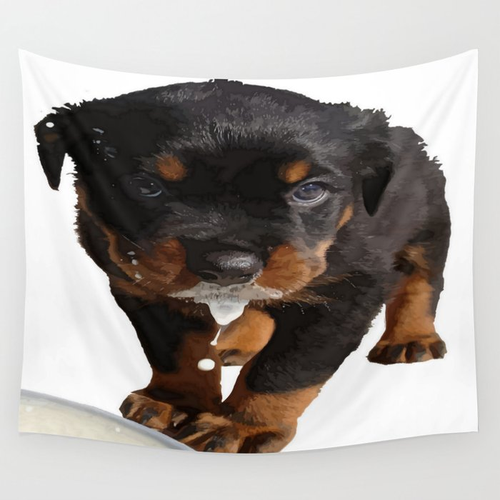Cute Rottweiler Puppy Lapping Milk Vector Wall Tapestry By Taiche