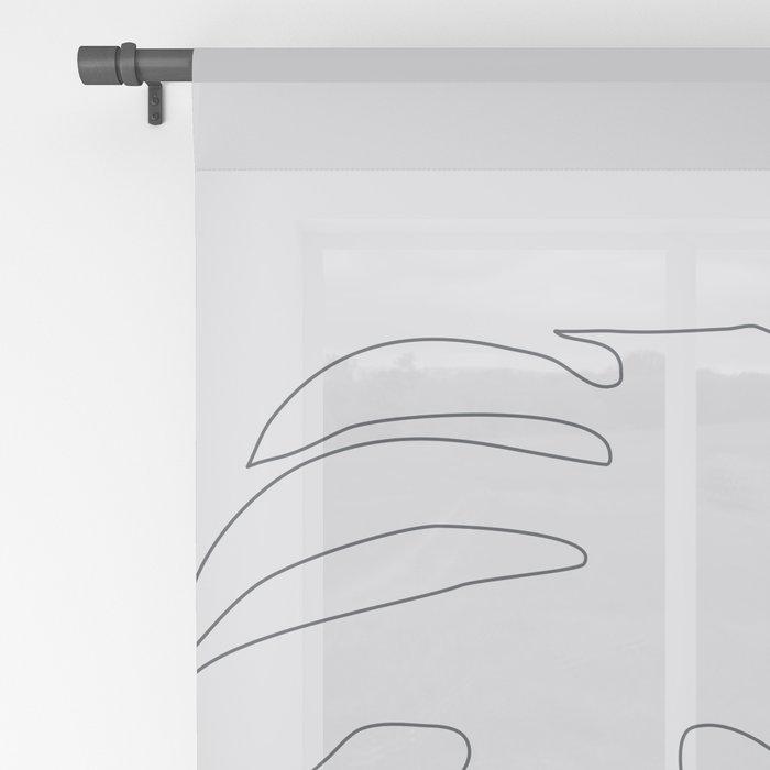 Monstera Illustration Sheer Curtain