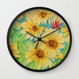 Sunflower watercolor Wall Clock
