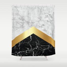 Arrows - White Marble, Gold & Black Granite #147 Shower Curtain