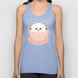 Cute Kawai cat in pink cup Unisex Tank Top