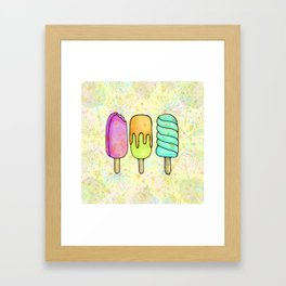 Popsicle Party Watercolor Painting, Yummy Rainbow Icecream Fun Framed Art Print