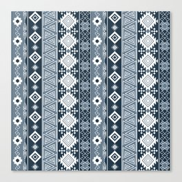 Colorful Aztec pattern with dirty blue. Canvas Print
