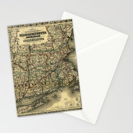 Vintage Map of Southern New England: Connecticut, Rhode Island, and Massachusetts Stationery Cards