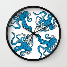 Sea-life Collection - Octopus - Ocean-Blue Wall Clock