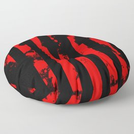 Blood Bars - Geometric, black and red stripes pattern, blood red, paint splat artwork Floor Pillow