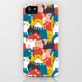 Cats Crowd Pattern iPhone Case