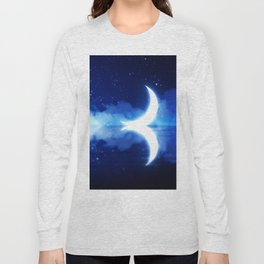 Crescent Moon over blue Starry Sky Long Sleeve T-shirt