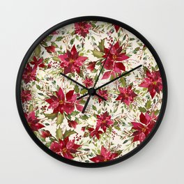 POINSETTIA - FLOWER OF THE HOLY NIGHT Wall Clock