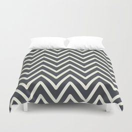 Chevron Wave Asphalt Duvet Cover