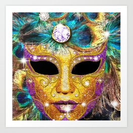 Golden Carnival Mask Art Print