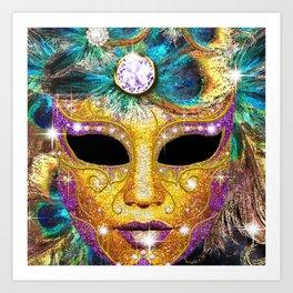 Golden Carnival Mask Art Print