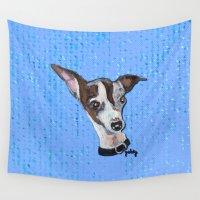 greyhound Wall Tapestries featuring Mia the Italian Greyhound by gretzky