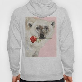 Polar Bear with Red Rose Hoody