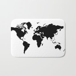 Black and White world map Bath Mat
