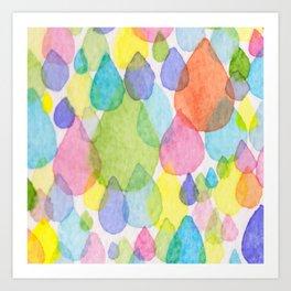 Colourful Raindrops Art Print
