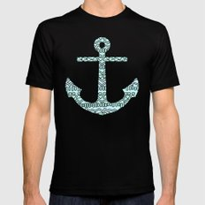 Tribal Anchor LARGE Black Mens Fitted Tee