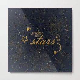 Under the stars- sparkling gold glitter night typography Metal Print