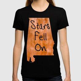 Stars Fell On Alabama Typographical Map Art T-shirt