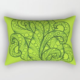 Green Sea Flourishes Rectangular Pillow