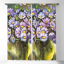King George Asters In A Metallic Vase Blackout Curtain