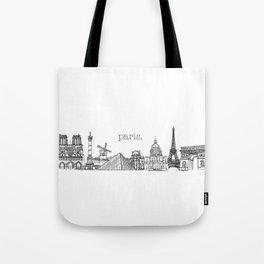 Paris Landmarks by the Downtown Doodler Tote Bag