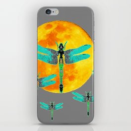 GREEN DRAGONFLIES FLYING TO MOON iPhone Skin