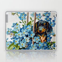 Dachshund and Forget-Me-Nots Laptop & iPad Skin