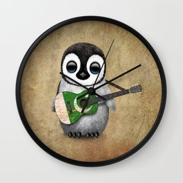 Baby Penguin Playing Pakistani Flag Acoustic Guitar Wall Clock