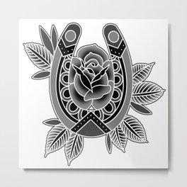 Black & Grey Traditional Rose & Horseshoe Metal Print