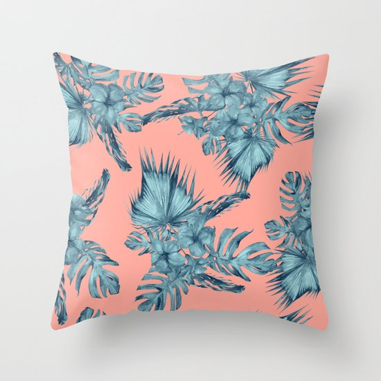 Dreaming Of Hawaii Teal Blue On Coral Pink Throw Pillow By