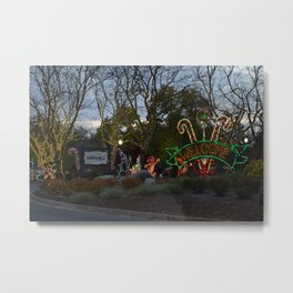Christmas Candylane Welcome Metal Print