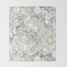 White marble geomeric pattern in gold frame Throw Blanket