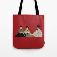 scandal Tote Bags featuring untold scandal by Live It Up