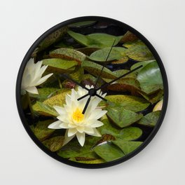 Pale Yellow Water Lilies Wall Clock