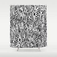 fringe Shower Curtains featuring Pysch Fringe by jordantheplatt