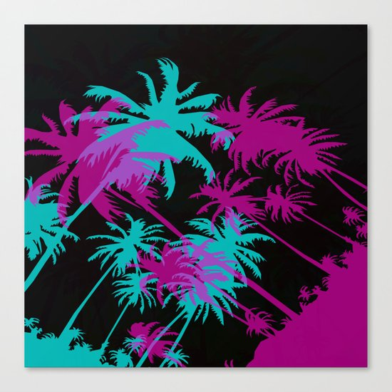 California Palm Trees at Night  Canvas Print