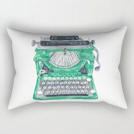 Green Typewriter Rectangular Pillow