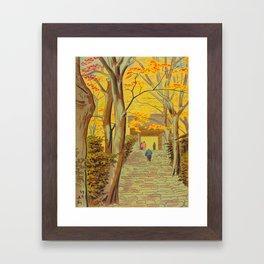 Asano Takeji Japanese Woodblock Print Vintage Mid Century Art Autumn Trees Shinto Shrine Framed Art Print
