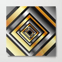 Composition with metallic squares-metal texture with illusion effectComposition with metallic square Metal Print