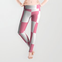 Large Checkered - White and Flamingo Pink Leggings