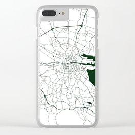White on Dark Green Dublin Street Map Clear iPhone Case