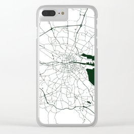 White on Dark Green Dublin Street Map Clear iPhone Case