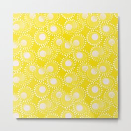 Bold Yellow Floating Circles Metal Print