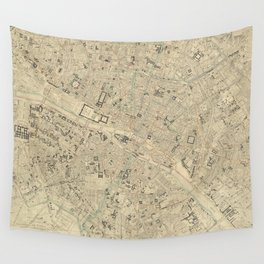 Vintage Map of Paris France (1843) Wall Tapestry