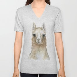 Llama Watercolor Painting Unisex V-Neck