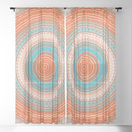 Coral and Turquoise Detailed Mandala Sheer Curtain