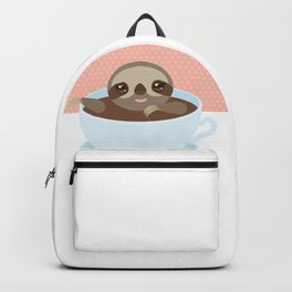 Sloth in a blue cup coffee, tea, Three-toed slot Backpack