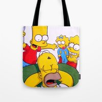 simpsons Tote Bags featuring Simpsons by Brian David