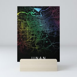 Jinan, China, City, Map, Rainbow, Map, Art, Print Mini Art Print